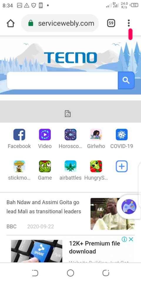 how to enable Javascript in google chrome android phone