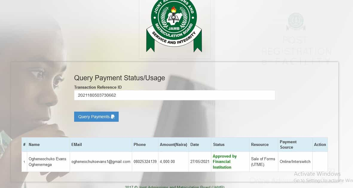 how to re-query jamb payment