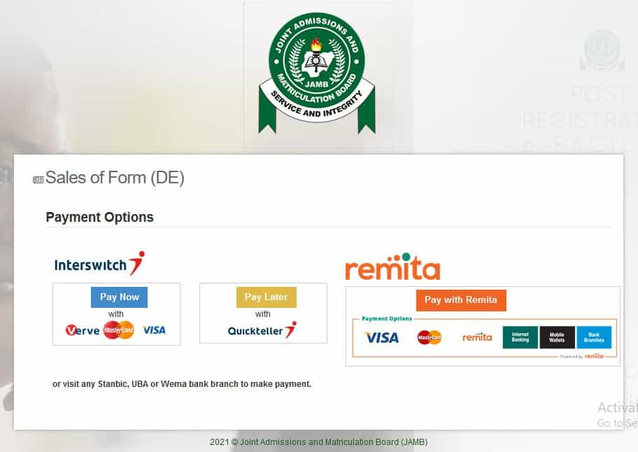 how to pay for jamb form 2021