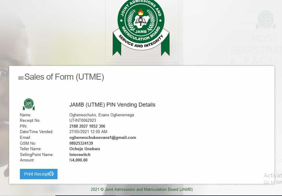 easy steps for buying jamb utme form