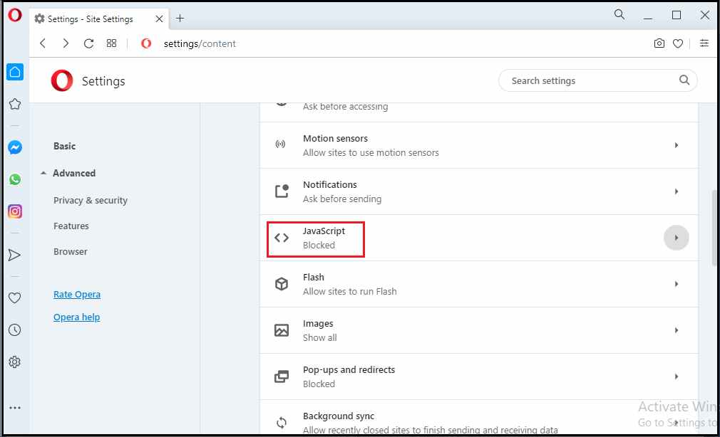 how to enable Javascript in Opera browser