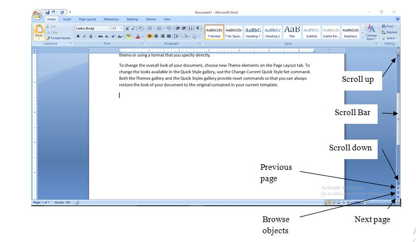 Procedures on How to Move Around in Microsoft Word 2007